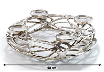 Kobolo Deko-Kranz Adventskranz groß - Metall - Silber - für 4 Kerzen - D40 cm - 6