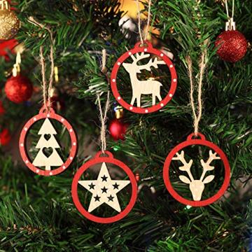 KOHMUI Christbaumschmuck Holz Set, Weihnachtsdeko Anhänger, Weihnachtsdekoration Baumschmuck zum Hängen, 24 Christbaum Hirschkopf Rentier Stern Weihnachtssnhänger mit 18 Frohe Weihnachten Aufkleber - 2