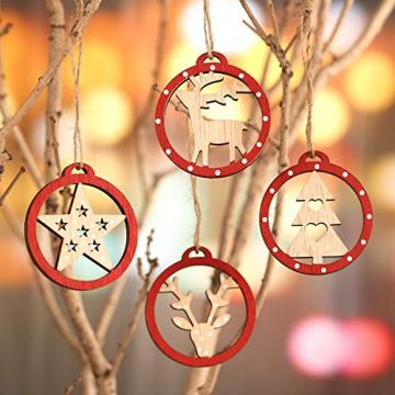 KOHMUI Christbaumschmuck Holz Set, Weihnachtsdeko Anhänger, Weihnachtsdekoration Baumschmuck zum Hängen, 24 Christbaum Hirschkopf Rentier Stern Weihnachtssnhänger mit 18 Frohe Weihnachten Aufkleber - 6