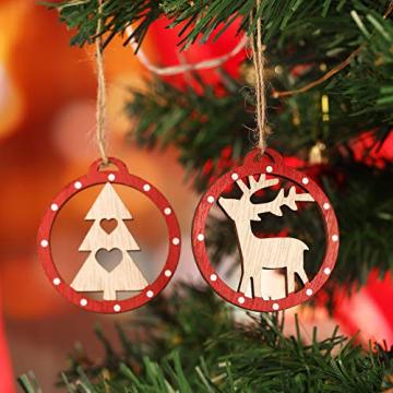 KOHMUI Christbaumschmuck Holz Set, Weihnachtsdeko Anhänger, Weihnachtsdekoration Baumschmuck zum Hängen, 24 Christbaum Hirschkopf Rentier Stern Weihnachtssnhänger mit 18 Frohe Weihnachten Aufkleber - 8