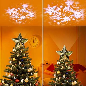 KPCB Weihnachtsbaum Stern,Christbaumspitze Stern Tannenbaum Spitze Mehrfarben LED für Feiertags-Dekorationen - 7