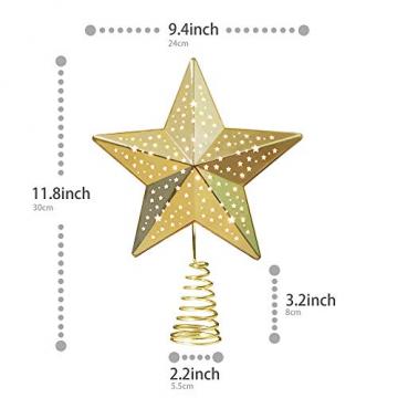 KPCB Weihnachtsbaum Stern,Christbaumspitze Stern Tannenbaum Spitze Mehrfarben LED für Feiertags-Dekorationen - 6