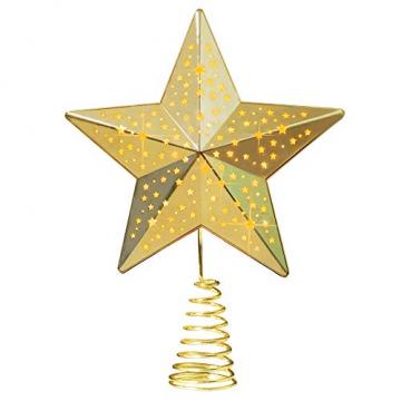 KPCB Weihnachtsbaum Stern,Christbaumspitze Stern Tannenbaum Spitze Mehrfarben LED für Feiertags-Dekorationen - 8