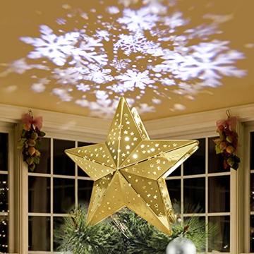 KPCB Weihnachtsbaum Stern,Christbaumspitze Stern Tannenbaum Spitze Mehrfarben LED für Feiertags-Dekorationen - 1