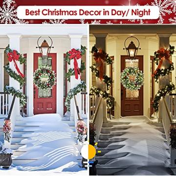 Kranz Weihnachten, Weihnachtskranz für Tür Vorbeleuchtet Künstlich Weihnachtsdeko mit 50 LEDs Licht Batteriebetrieb Schneeflocke Pinocone Red Berry(45CM/18Zoll) - 3