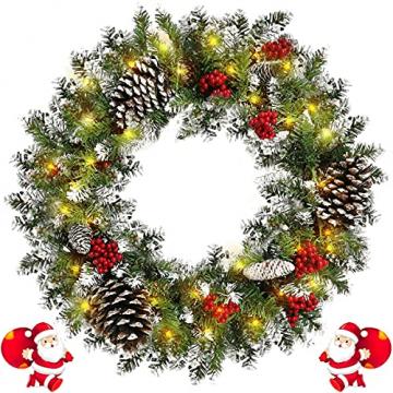 Kranz Weihnachten, Weihnachtskranz für Tür Vorbeleuchtet Künstlich Weihnachtsdeko mit 50 LEDs Licht Batteriebetrieb Schneeflocke Pinocone Red Berry(45CM/18Zoll) - 1