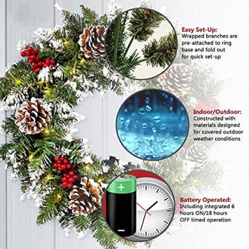 Kranz Weihnachten, Weihnachtskranz für Tür Vorbeleuchtet Künstlich Weihnachtsdeko mit 50 LEDs Licht Batteriebetrieb Schneeflocke Pinocone Red Berry(45CM/18Zoll) - 5