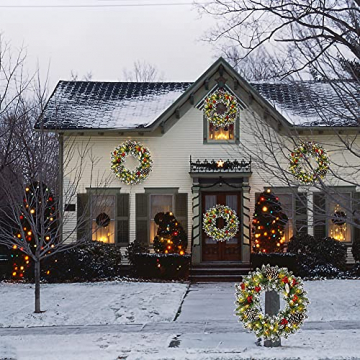Kranz Weihnachten, Weihnachtskranz für Tür Vorbeleuchtet Künstlich Weihnachtsdeko mit 50 LEDs Licht Batteriebetrieb Schneeflocke Pinocone Red Berry(45CM/18Zoll) - 6