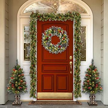 Kranz Weihnachten, Weihnachtskranz für Tür Vorbeleuchtet Künstlich Weihnachtsdeko mit 50 LEDs Licht Batteriebetrieb Schneeflocke Pinocone Red Berry(45CM/18Zoll) - 7