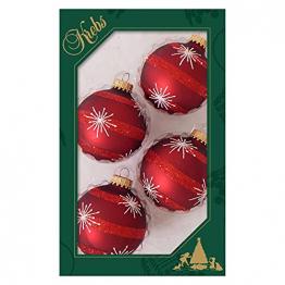 Krebs Glas Lauscha Weihnachtskugeln rot mit Sternen und Streifen 4 Stück/Set, Ø 7 cm - 1