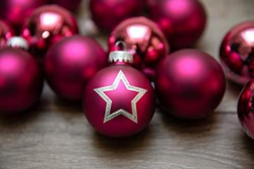 KREBS & SOHN 20er Set Glas Christbaumkugeln - Weihnachtsbaum Deko zum Aufhängen - Weihnachtskugeln 5,7 cm - Pink Sterne - 4