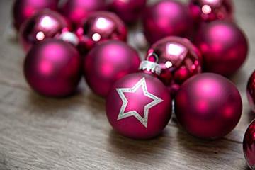 KREBS & SOHN 20er Set Glas Christbaumkugeln - Weihnachtsbaum Deko zum Aufhängen - Weihnachtskugeln 5,7 cm - Pink Sterne - 1