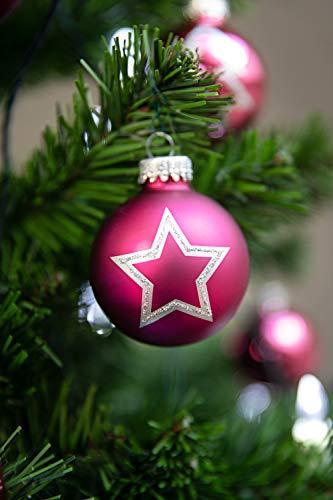 KREBS & SOHN 20er Set Glas Christbaumkugeln - Weihnachtsbaum Deko zum Aufhängen - Weihnachtskugeln 5,7 cm - Pink Sterne - 5