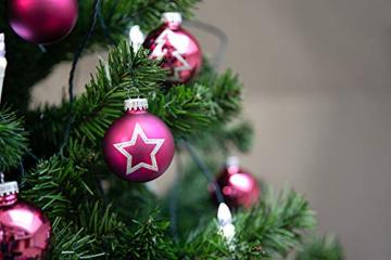 KREBS & SOHN 20er Set Glas Christbaumkugeln - Weihnachtsbaum Deko zum Aufhängen - Weihnachtskugeln 5,7 cm - Pink Sterne - 6