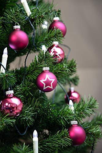 KREBS & SOHN 20er Set Glas Christbaumkugeln - Weihnachtsbaum Deko zum Aufhängen - Weihnachtskugeln 5,7 cm - Pink Sterne - 7
