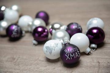 KREBS & SOHN 20er Set Glaskugeln - Weihnachtsbaumschmuck zum Aufhängen - Christbaumkugeln - Weiß, Lila, Silber - 2