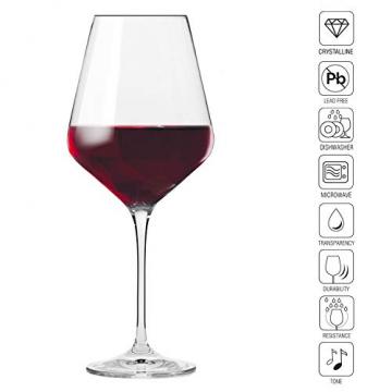 Krosno Rot-Weingläser | Set von 6 | 490 ML | Avant-Garde Kollektion | Perfekt für zu Hause, Restaurants und Partys | Spülmaschinenfest und Mikrowellengeeignet - 3