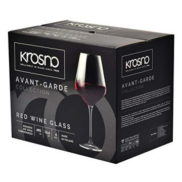 Krosno Rot-Weingläser | Set von 6 | 490 ML | Avant-Garde Kollektion | Perfekt für zu Hause, Restaurants und Partys | Spülmaschinenfest und Mikrowellengeeignet - 4
