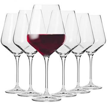 Krosno Rot-Weingläser | Set von 6 | 490 ML | Avant-Garde Kollektion | Perfekt für zu Hause, Restaurants und Partys | Spülmaschinenfest und Mikrowellengeeignet - 1