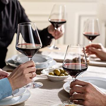 Krosno Rot-Weingläser | Set von 6 | 490 ML | Avant-Garde Kollektion | Perfekt für zu Hause, Restaurants und Partys | Spülmaschinenfest und Mikrowellengeeignet - 5