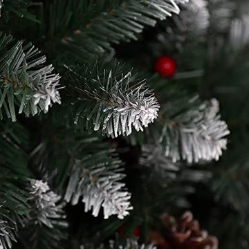 Künstlicher Weihnachtsbaum Weihnachtsdekoration Mit Roten Beeren Und Tannenzapfen-Spitzen Weihnachtsbaum Mit Beflockten Tannenzapfen Und Tannennadel, Buschige Weihnachtsbäume Mit Hoher Spitzenzahl - 3