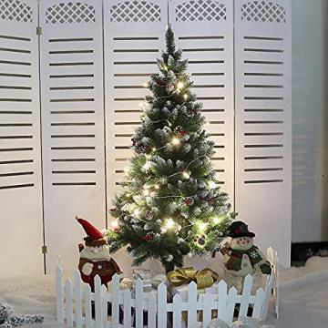 Künstlicher Weihnachtsbaum Weihnachtsdekoration Mit Roten Beeren Und Tannenzapfen-Spitzen Weihnachtsbaum Mit Beflockten Tannenzapfen Und Tannennadel, Buschige Weihnachtsbäume Mit Hoher Spitzenzahl - 5