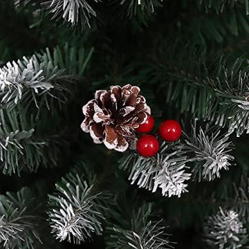Künstlicher Weihnachtsbaum Weihnachtsdekoration Mit Roten Beeren Und Tannenzapfen-Spitzen Weihnachtsbaum Mit Beflockten Tannenzapfen Und Tannennadel, Buschige Weihnachtsbäume Mit Hoher Spitzenzahl - 6