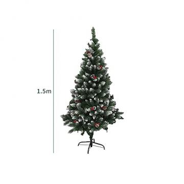 Künstlicher Weihnachtsbaum Weihnachtsdekoration Mit Roten Beeren Und Tannenzapfen-Spitzen Weihnachtsbaum Mit Beflockten Tannenzapfen Und Tannennadel, Buschige Weihnachtsbäume Mit Hoher Spitzenzahl - 7