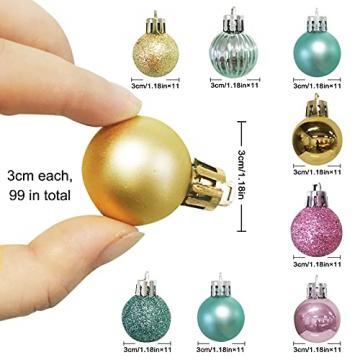 KwuLee Weihnachtskugel,99 Stück 3cm Weihnachtskugeln Kunststoff mit Hängend Schleife Wiederverwendbar,Christbaumkugeln Weihnacht Ornamente für Weihnachtsbaum Home Hochzeit Geburtstagsfeier Dekoration - 3