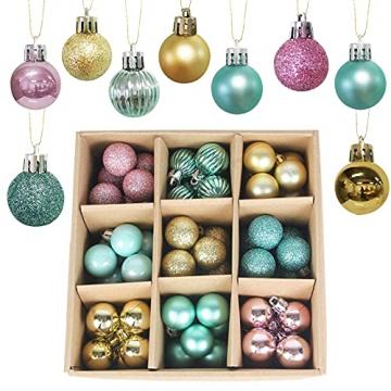 KwuLee Weihnachtskugel,99 Stück 3cm Weihnachtskugeln Kunststoff mit Hängend Schleife Wiederverwendbar,Christbaumkugeln Weihnacht Ornamente für Weihnachtsbaum Home Hochzeit Geburtstagsfeier Dekoration - 1