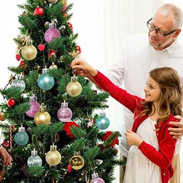 KwuLee Weihnachtskugel,99 Stück 3cm Weihnachtskugeln Kunststoff mit Hängend Schleife Wiederverwendbar,Christbaumkugeln Weihnacht Ornamente für Weihnachtsbaum Home Hochzeit Geburtstagsfeier Dekoration - 6