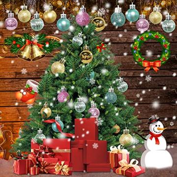 KwuLee Weihnachtskugel,99 Stück 3cm Weihnachtskugeln Kunststoff mit Hängend Schleife Wiederverwendbar,Christbaumkugeln Weihnacht Ornamente für Weihnachtsbaum Home Hochzeit Geburtstagsfeier Dekoration - 7