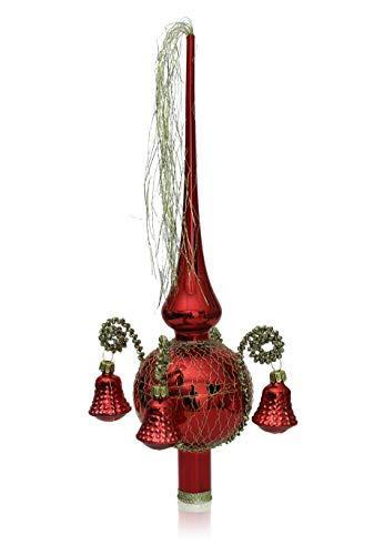 Lauschaer Glas Weihnachtsbaumspitze mit Formglöckchen rot Glanz, umsponnen L ca. 28cm d(Kugel) 7cm Christbaumschmuckspitze mundgeblasen,handdekoriert,Leonischer Draht - 1