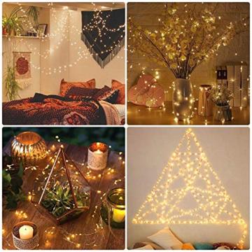 LE 10M LED Lichterkette Draht aus Kupferdraht, 100 LEDs, Wasserdicht IP65, Strombetrieben, ideal Stimmungslichter für Weihnachtsdeko Innen Außen Weihnachten Party Hochzeit usw. Warmweiß - 4