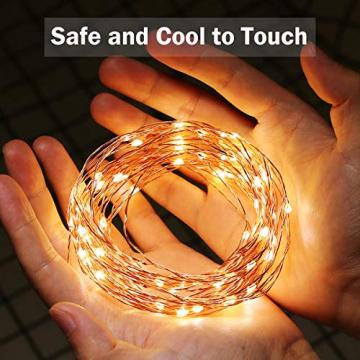LE 10M LED Lichterkette Draht aus Kupferdraht, 100 LEDs, Wasserdicht IP65, Strombetrieben, ideal Stimmungslichter für Weihnachtsdeko Innen Außen Weihnachten Party Hochzeit usw. Warmweiß - 6