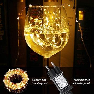 LE 10M LED Lichterkette Draht aus Kupferdraht, 100 LEDs, Wasserdicht IP65, Strombetrieben, ideal Stimmungslichter für Weihnachtsdeko Innen Außen Weihnachten Party Hochzeit usw. Warmweiß - 7
