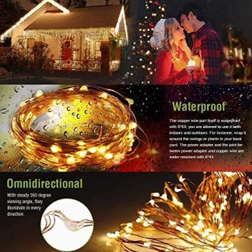 LE 10M LED Lichterkette Draht aus Kupferdraht, 100 LEDs, Wasserdicht IP65, Strombetrieben, ideal Stimmungslichter für Weihnachtsdeko Innen Außen Weihnachten Party Hochzeit usw. Warmweiß - 8