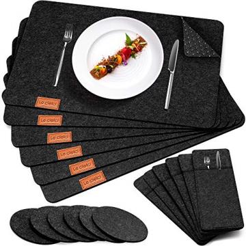 Le cielci® Tischset Filz Anthrazit   18er Set - 6 Platzsets, Glasuntersetzer, Bestecktaschen   rutschfest Abwaschbar Tischsets   Filzmatte Platzdeckchen abwischbar   Platzset für Zuhause Restaurant - 1