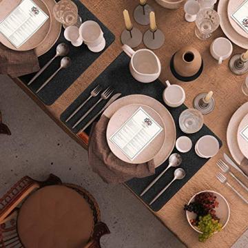 Le cielci® Tischset Filz Anthrazit   18er Set - 6 Platzsets, Glasuntersetzer, Bestecktaschen   rutschfest Abwaschbar Tischsets   Filzmatte Platzdeckchen abwischbar   Platzset für Zuhause Restaurant - 8
