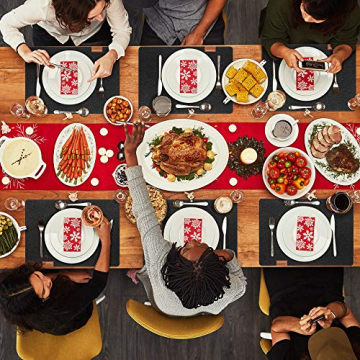 Le cielci® Tischset Filz Anthrazit   18er Set - 6 Platzsets, Glasuntersetzer, Bestecktaschen   rutschfest Abwaschbar Tischsets   Filzmatte Platzdeckchen abwischbar   Platzset für Zuhause Restaurant - 9