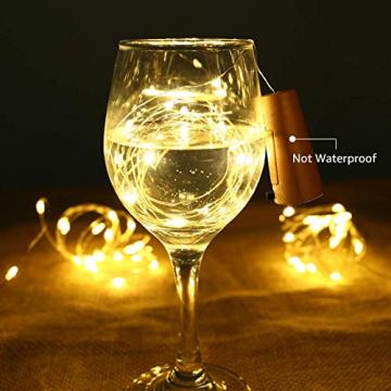 LE Flaschenlicht, 20 LEDs Weinflaschen Lichterkette, 8 Stück 2M Batteriebetrieben Flaschenlichterkette mit Kork, Kupferdraht Lichterketten für Zimmer Außen Innen Weihnachten Party Deko, Warmweiß - 6