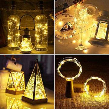 LE Flaschenlicht, 20 LEDs Weinflaschen Lichterkette, 8 Stück 2M Batteriebetrieben Flaschenlichterkette mit Kork, Kupferdraht Lichterketten für Zimmer Außen Innen Weihnachten Party Deko, Warmweiß - 7