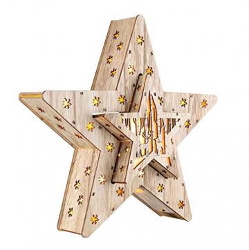 LED Deko Holz Stern im 2er Set mit 16 LED - 33,5 x 33,5 x 6 cm - Weihnachtsstern beleuchtet Tischdeko Fensterdeko - 1