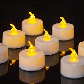 LED Kerzen, 24 Stück LED Flammenlose Tealights, Flackern Teelichter, elektrische Kerze Lichter Batterie Dekoration für Weihnachten, Weihnachtsbaum, Ostern, Hochzeit, Party - 1