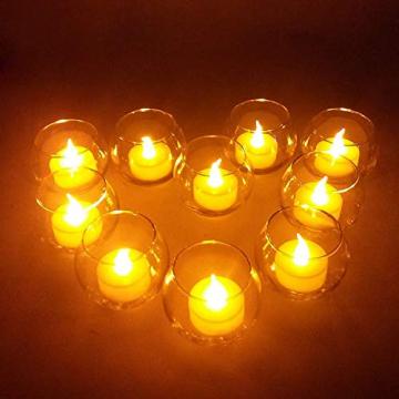 LED Kerzen, 24 Stück LED Flammenlose Tealights, Flackern Teelichter, elektrische Kerze Lichter Batterie Dekoration für Weihnachten, Weihnachtsbaum, Ostern, Hochzeit, Party - 5