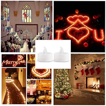 LED Kerzen, 24 Stück LED Flammenlose Tealights, Flackern Teelichter, elektrische Kerze Lichter Batterie Dekoration für Weihnachten, Weihnachtsbaum, Ostern, Hochzeit, Party - 7