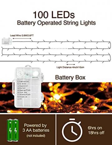 LED Lichterkette Batterie Außen, FilFom 2✖6m 50LED Micro Lichterkette Draht Innen Batteriebetrieben mit 9 Modis, IP65 Wasserdicht Weihnachtsbeleuchtung Outdoor Lichterkette für Balkon Garten Hochzeit - 2