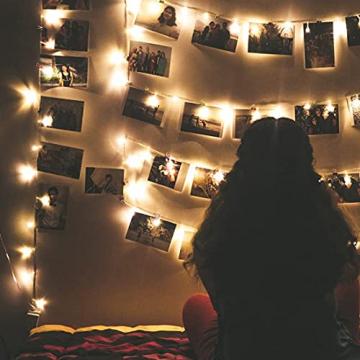 LED Lichterkette Batterie Außen, FilFom 2✖6m 50LED Micro Lichterkette Draht Innen Batteriebetrieben mit 9 Modis, IP65 Wasserdicht Weihnachtsbeleuchtung Outdoor Lichterkette für Balkon Garten Hochzeit - 8