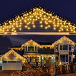 LED Lichterkette Eisregen, AKASUKI 9M 240 LED Lichtervorhang mit 8 Beleuchtungsmodi, Eiszapfen Lichterkette Innen und Außen, Strombetrieben für Party, Hochzeit, Balkon, Garten Deko, Warmweiß - 1