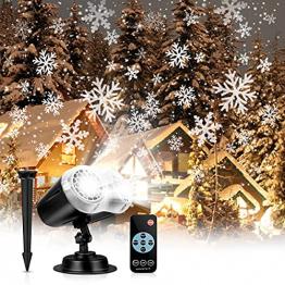 LED Projektionslampe, LED Schneeflocke Projektor Licht, Wasserdicht Schneefall Weihnachtsbeleuchtung Aussen LED Projektor Lichter für Außen und Innen Deko,Geburtstag Party, Weinachten und Feiertage - 1
